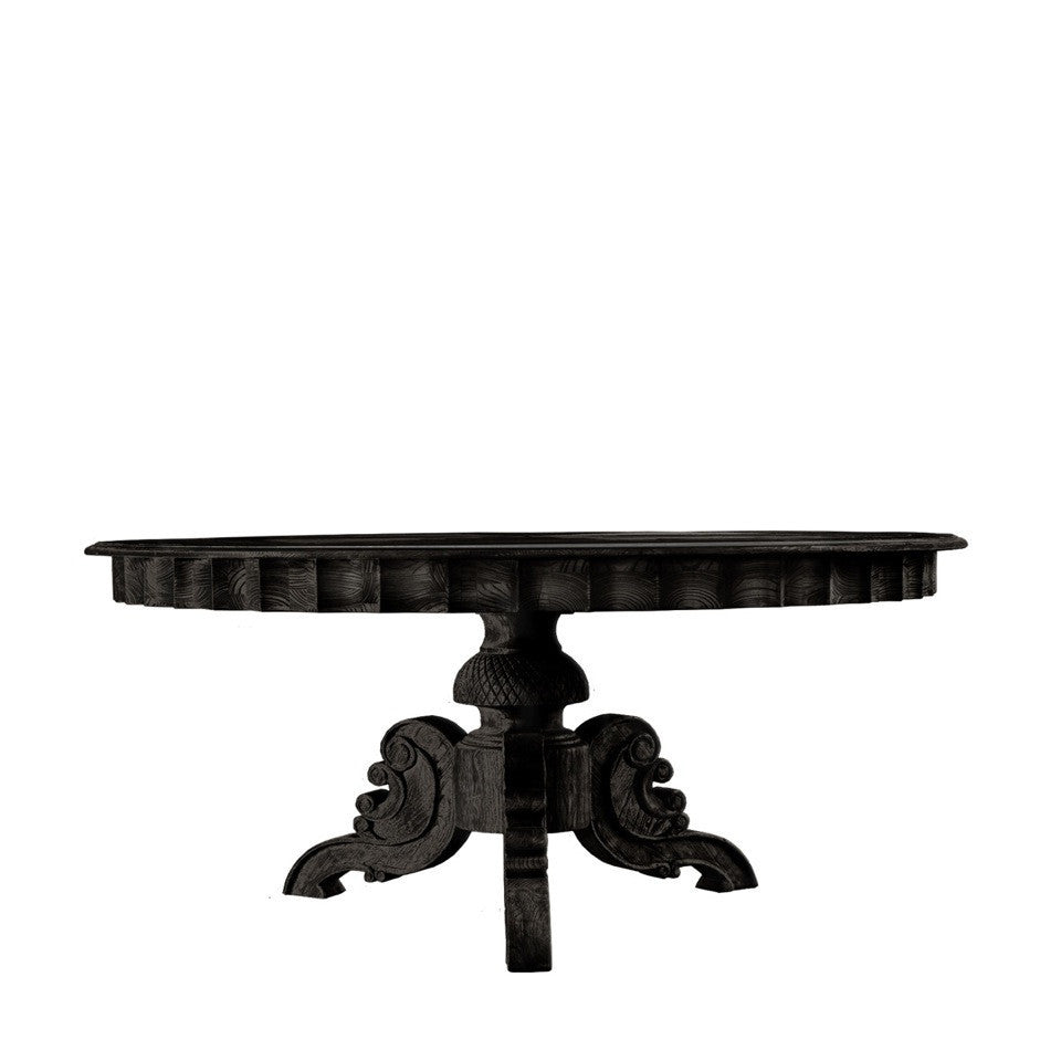 "Curations Limited 63"" French Round Antique Black Table"