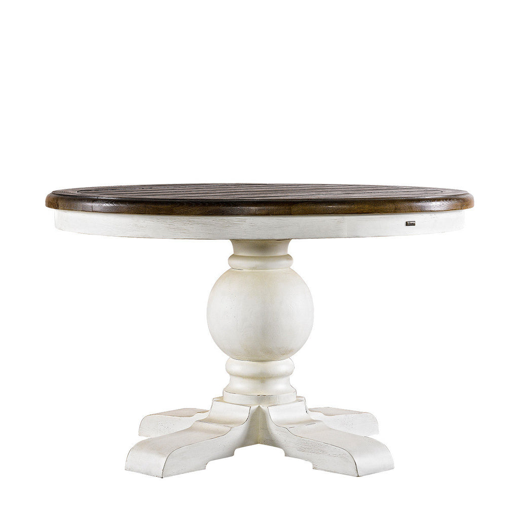 Curations Limited 48'' Round Trestle Vintage White  Table