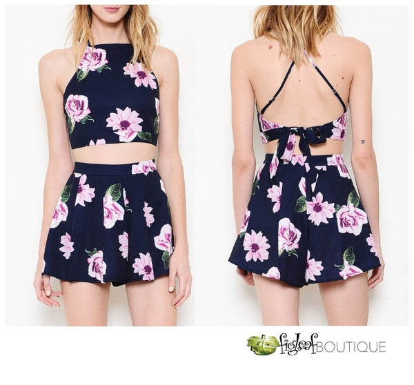 NAVY FLORAL ROMPER SET