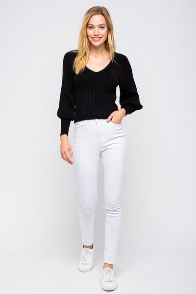 Black Open Back Bubble Sleeve Sweater
