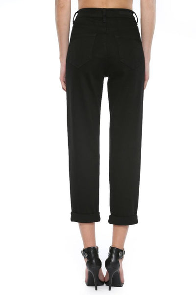 Black High Rise Cuffed Mom Jeans--FINAL SALE