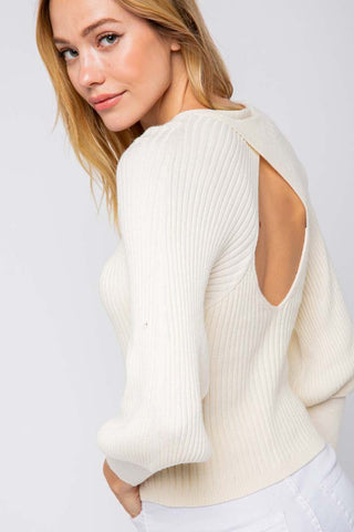 Ivory Open Back Bubble Sleeve Sweater