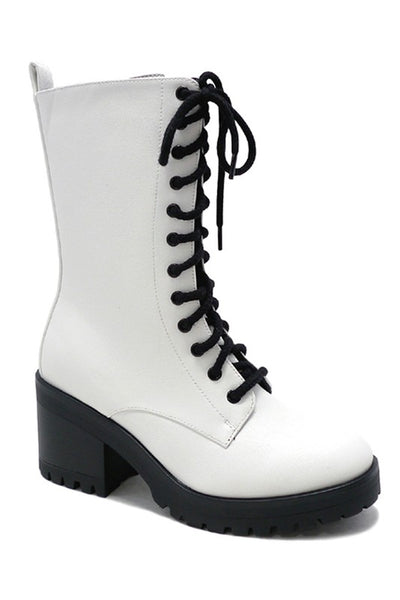 White Faux Leather Mid Heel Combat Boots--FINAL SALE