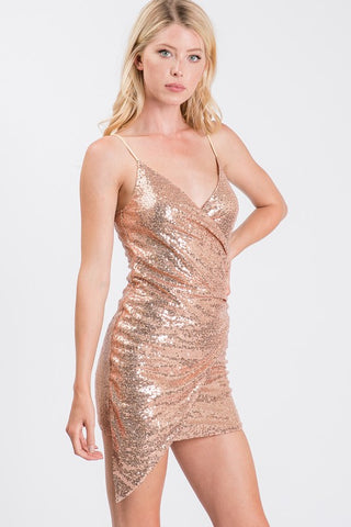 Rose Gold Sequin Asymmetric Mini Dress