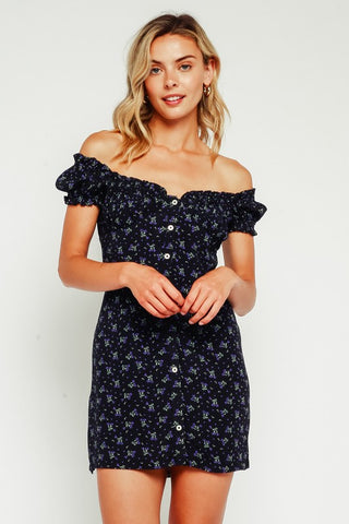 Blueberry Floral Rayon Button Up Dress**