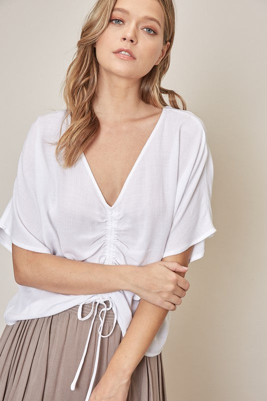 White Shirred Drawstring Top