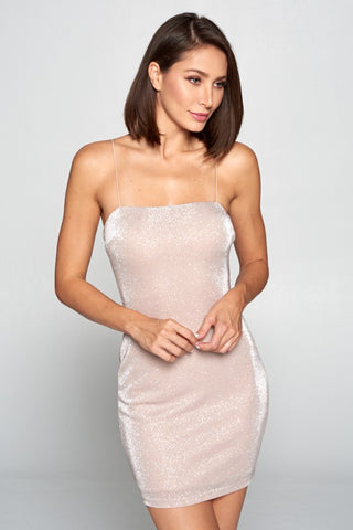 Champagne Glitter Thin Strap Mini Dress