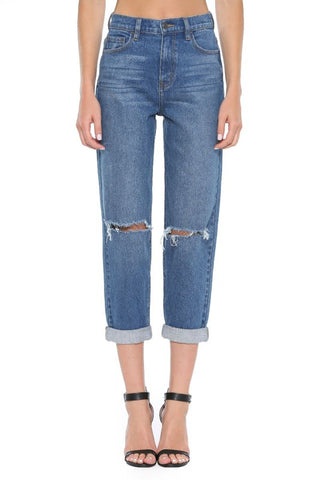 Slit Knee Rolled Cuff Denim Mom Jeans