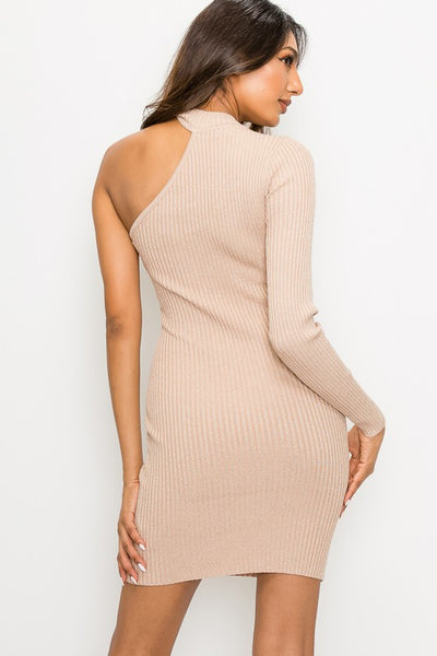 Champagne Metallic 1 Arm Sweater Dress