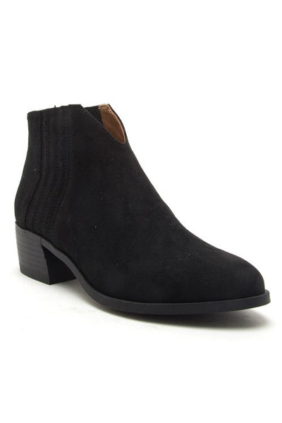 Black Faux Suede Low Ankle Booties