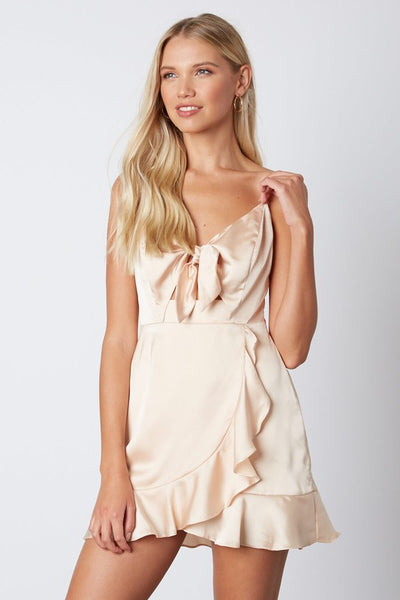 Buff Satin Tied Ruffle Dress