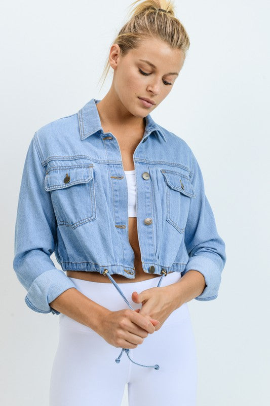 Light Blue Denim Drawstring Crop Jacket