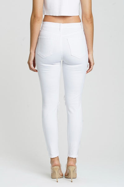 White Distressed High Waist Skinny Jeans