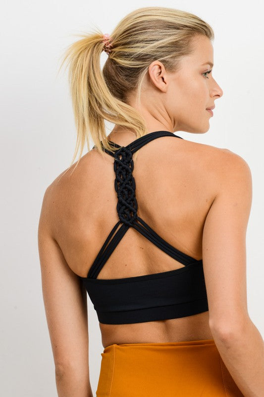 Black Braid Back Sports Bra--FINAL SALE