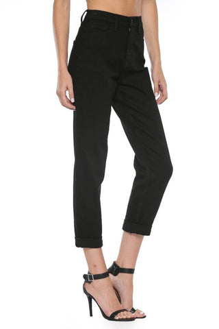 Black High Rise Cuffed Mom Jeans