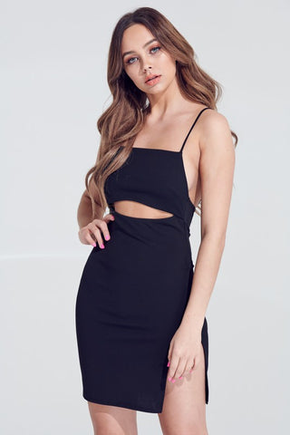 Black Side Slit Cut Out Strappy Dress**