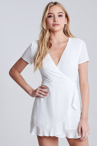 White Chiffon Ruffle Wrap SS Mini Dress**