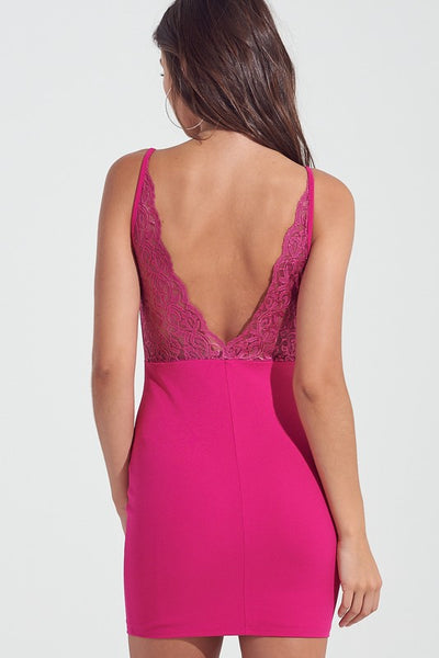 Magenta Lace Back Strappy Bodycon Dress**