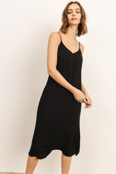 Black Rayon Tie Back Midi Dress--FINAL SALE