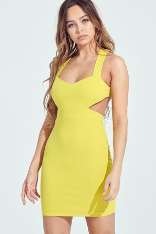 Yellow Lime Cut Out XBack Bodycon Dress**