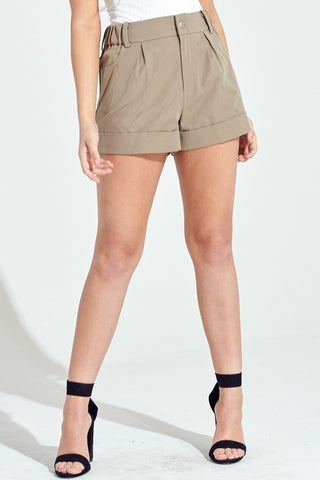 Olive Grey Pin Tuck Shorts**