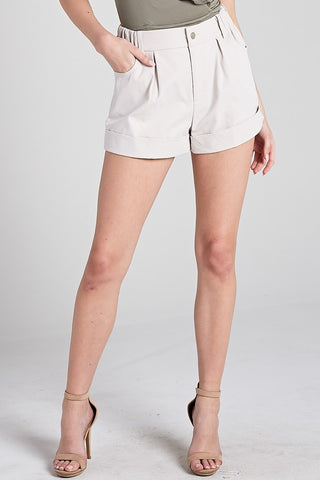 Light Ecru Pin Tuck Shorts**