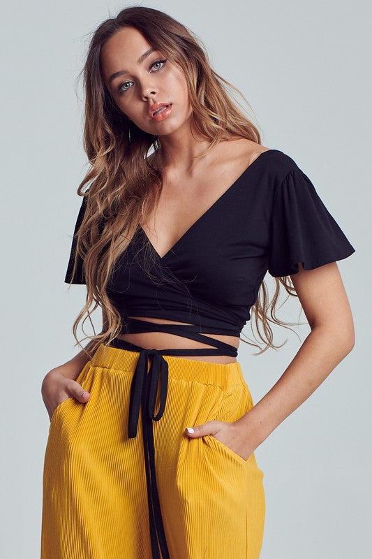 Black Flutter Sleeve Crop Wrap Top**