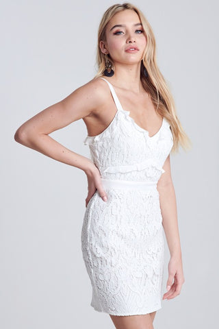 White Ruffled Crochet Lace Mini Dress**