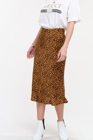 Gold Satin Leopard Midi Skirt**