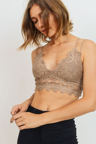 Dark Taupe Floral Lace Smocked Bralette