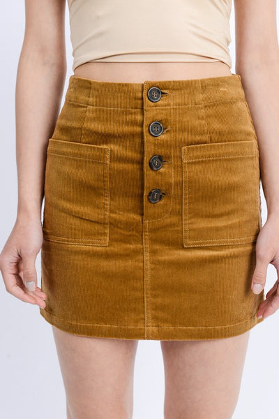 Camel Corduroy 4 Button Skirt**