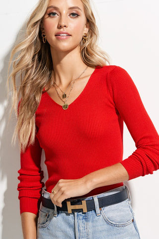 Red Ribbed Rayon Knit Top**