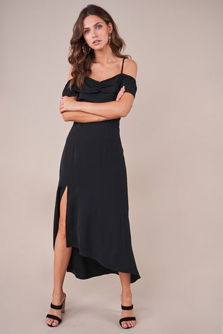 Black Lace Back Slit Midi Dress--FINAL SALE