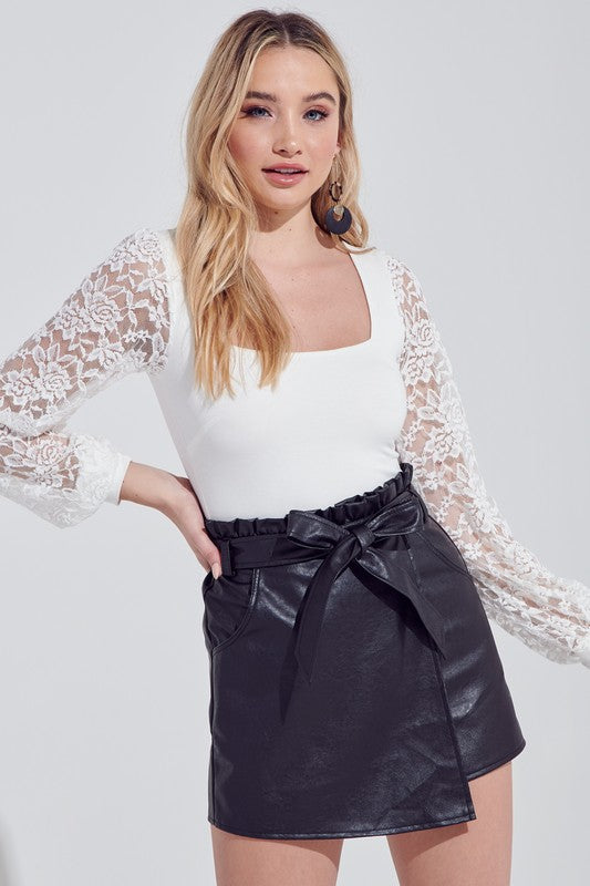 White Lace Sleeve Bodysuit--FINAL SALE