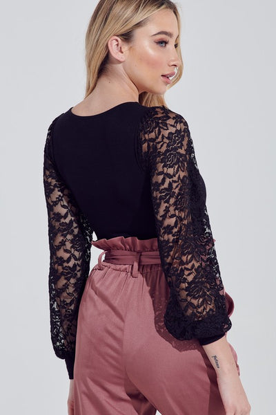 Black Lace Puff Sleeve Square Neck Bodysuit**
