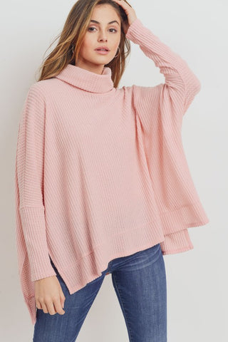 Blush Thermal Oversize Turtleneck Top