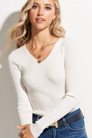 Ivory Ribbed Rayon Knit Top**