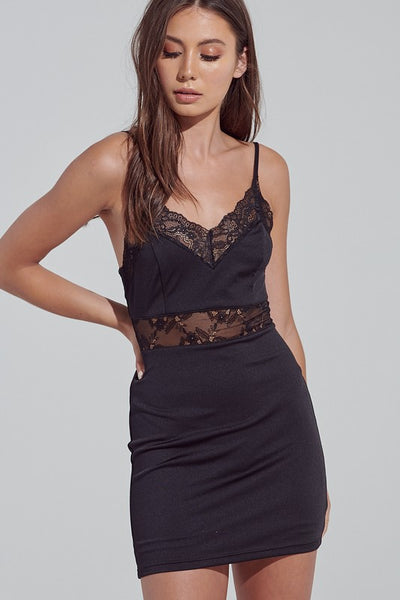 Black Satin Lace Trim Cami Dress**