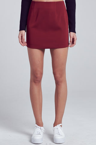 Burgundy Basic Mini Skirt