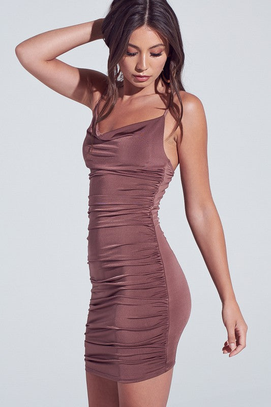 Mocha Ruched Strappy Bodycon Dress**
