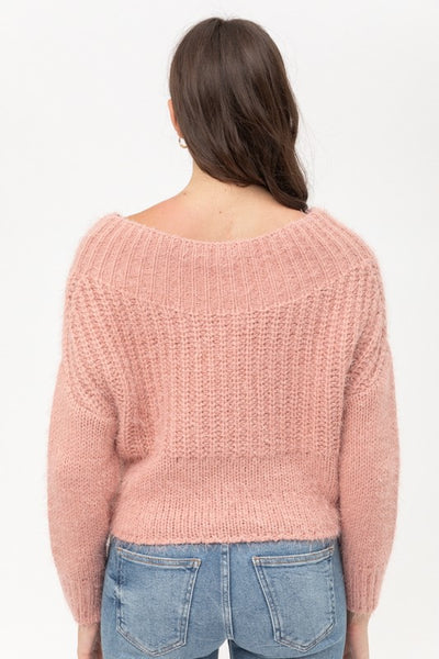 Mauve Off Shoulder Crop Sweater--FINAL SALE
