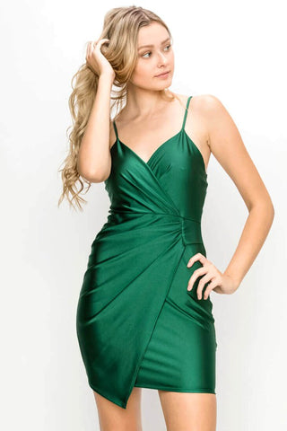 Green Silky Stretch Wrap Dress