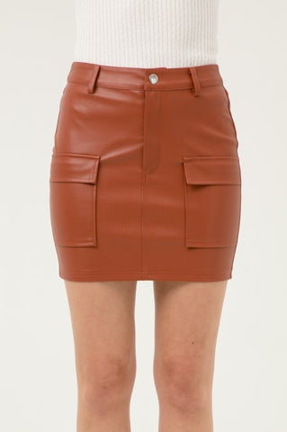Faux Leather Flap Pockets Skirt** --SEE COLORS