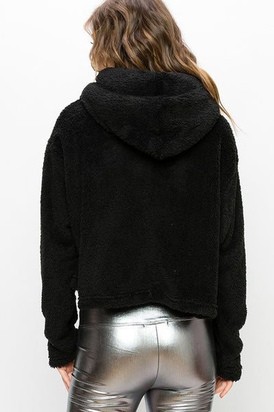 Black Faux Fur Ribbon Tie Hoodie Jacket