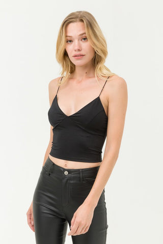 Black Stretch Satin Crop Top
