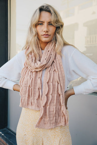 Scallop Ruffle Knit Scarf--SEE COLORS