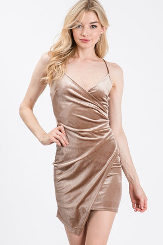 Tan Velvet Asymmetric Dress