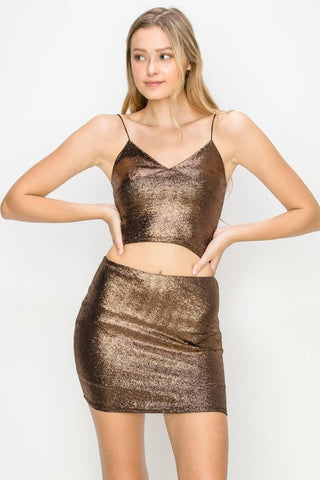 Copper Stretch Sparkle Top & Skirt Set