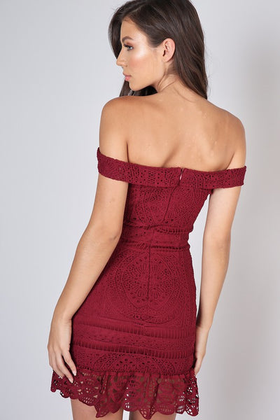 Wine Lace Off Shoulder Dress--FINAL SALE