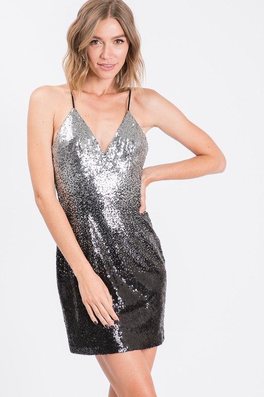 Black & Silver Sequin Cocktail Dress